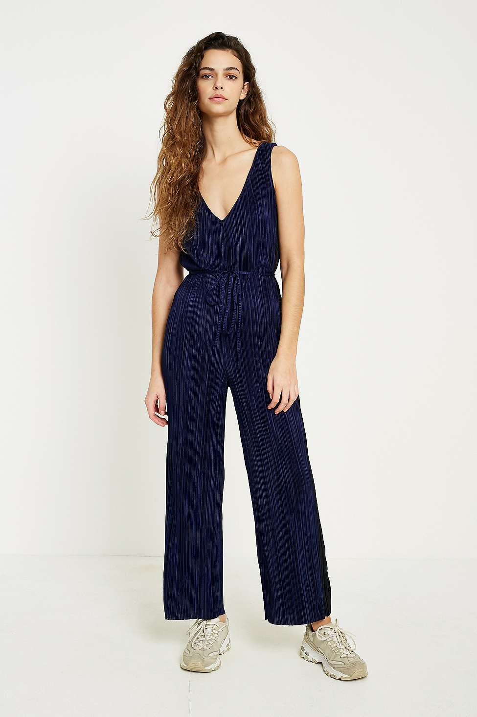 UO Blue Side Striped Plisse Jumpsuit, Black