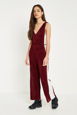 Urban Outfitters - UO Side Striped Plisse Jumpsuit, red