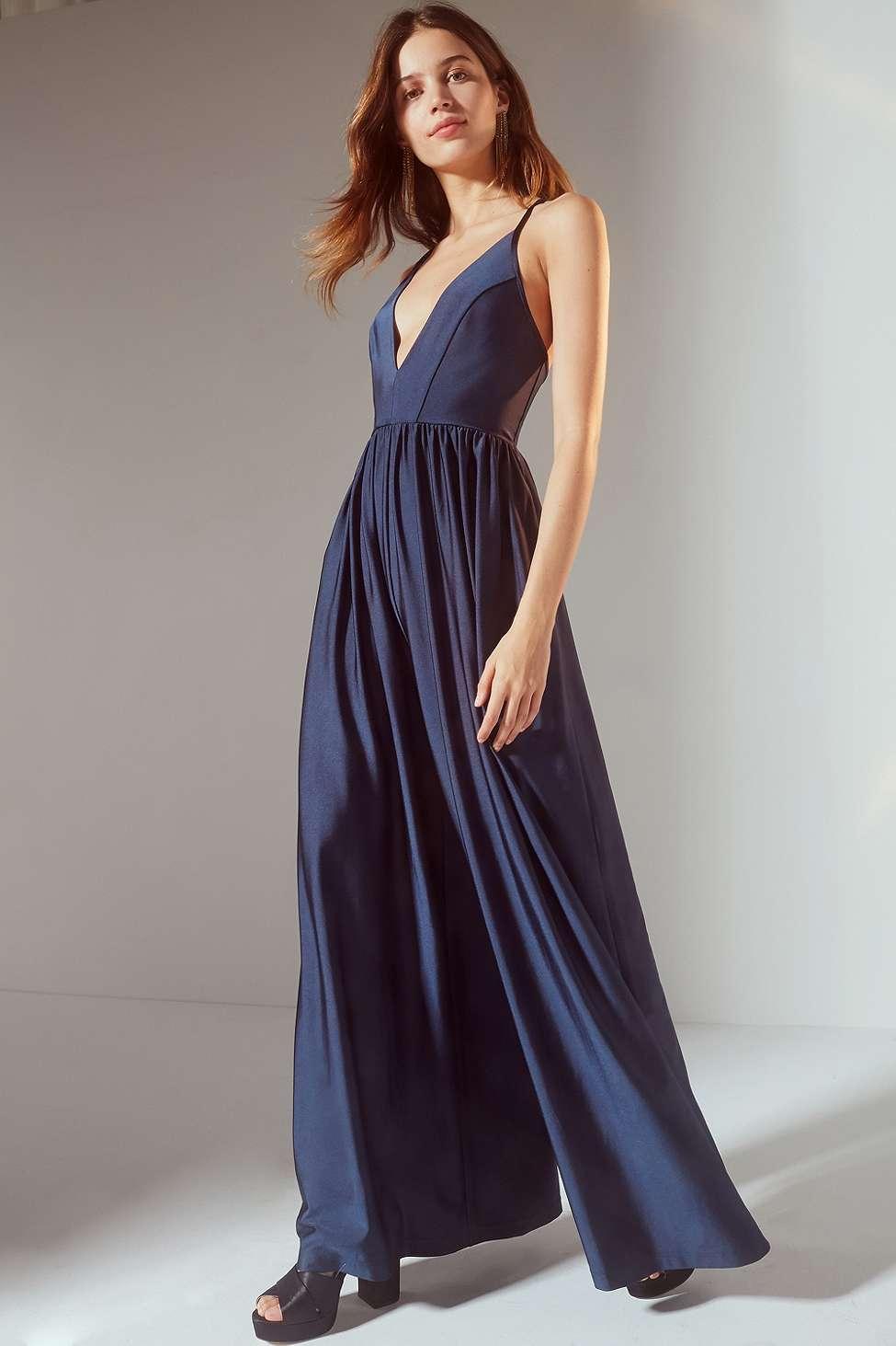 UO Gia Plunging Shimmer Jumpsuit, Black