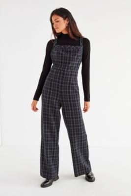 Urban Outfitters - UO Teacher's Pet Y-Back Plaid Jumpsuit, Navy