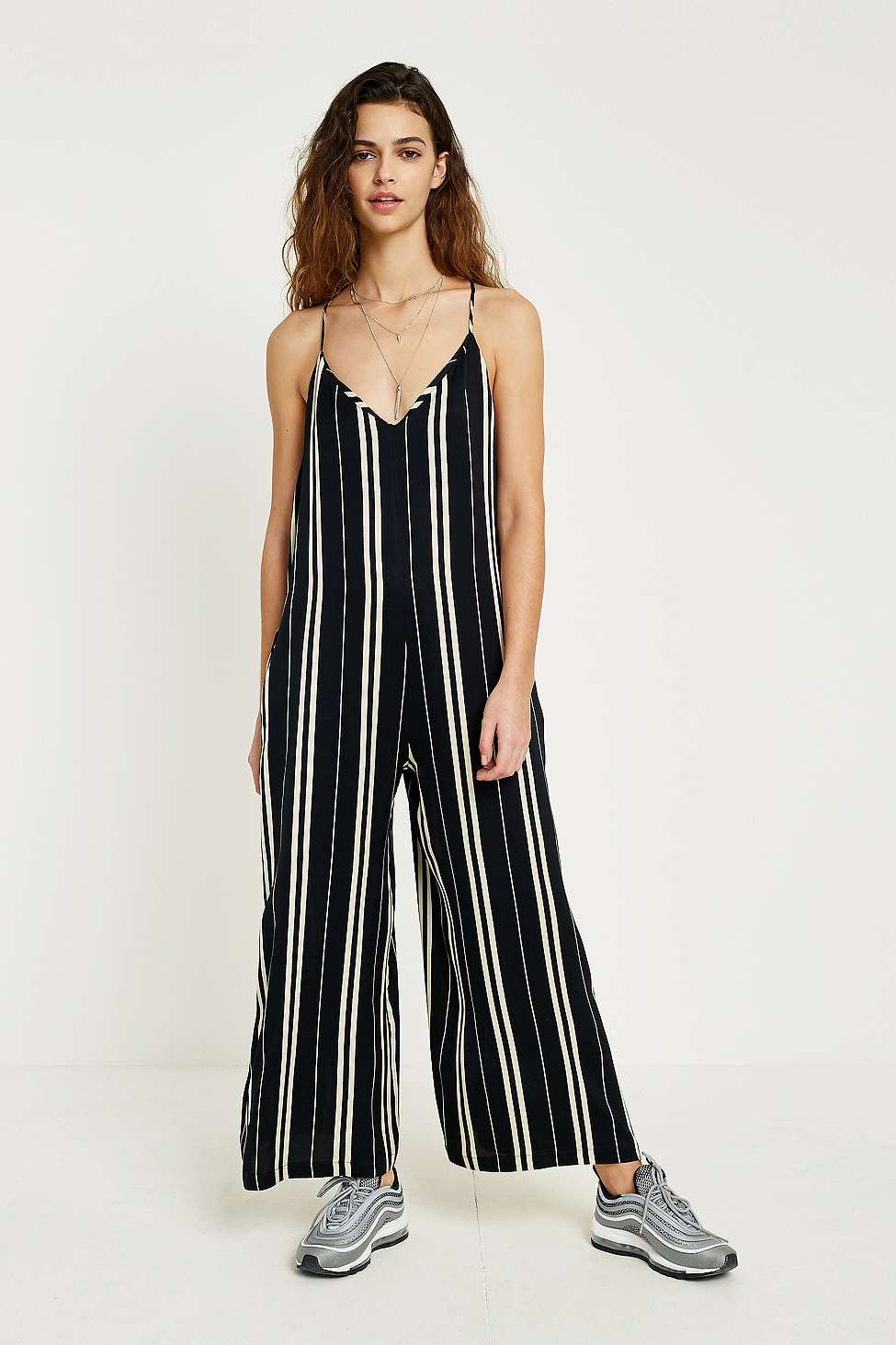 Uo Striped Satin Jumpsuit Urban Outfitters Fr