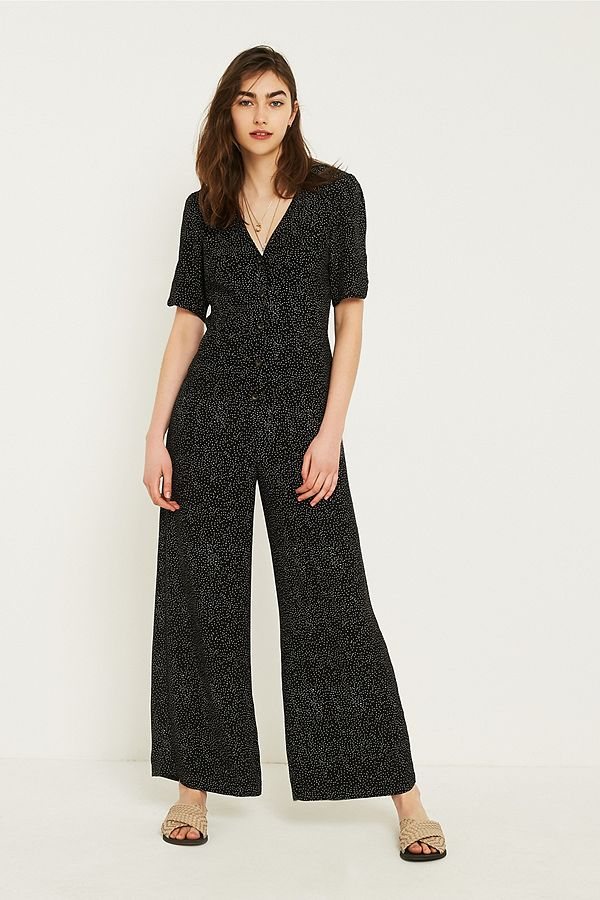 Slide View: 1: UO Mini Dot Button-Through Tea Jumpsuit