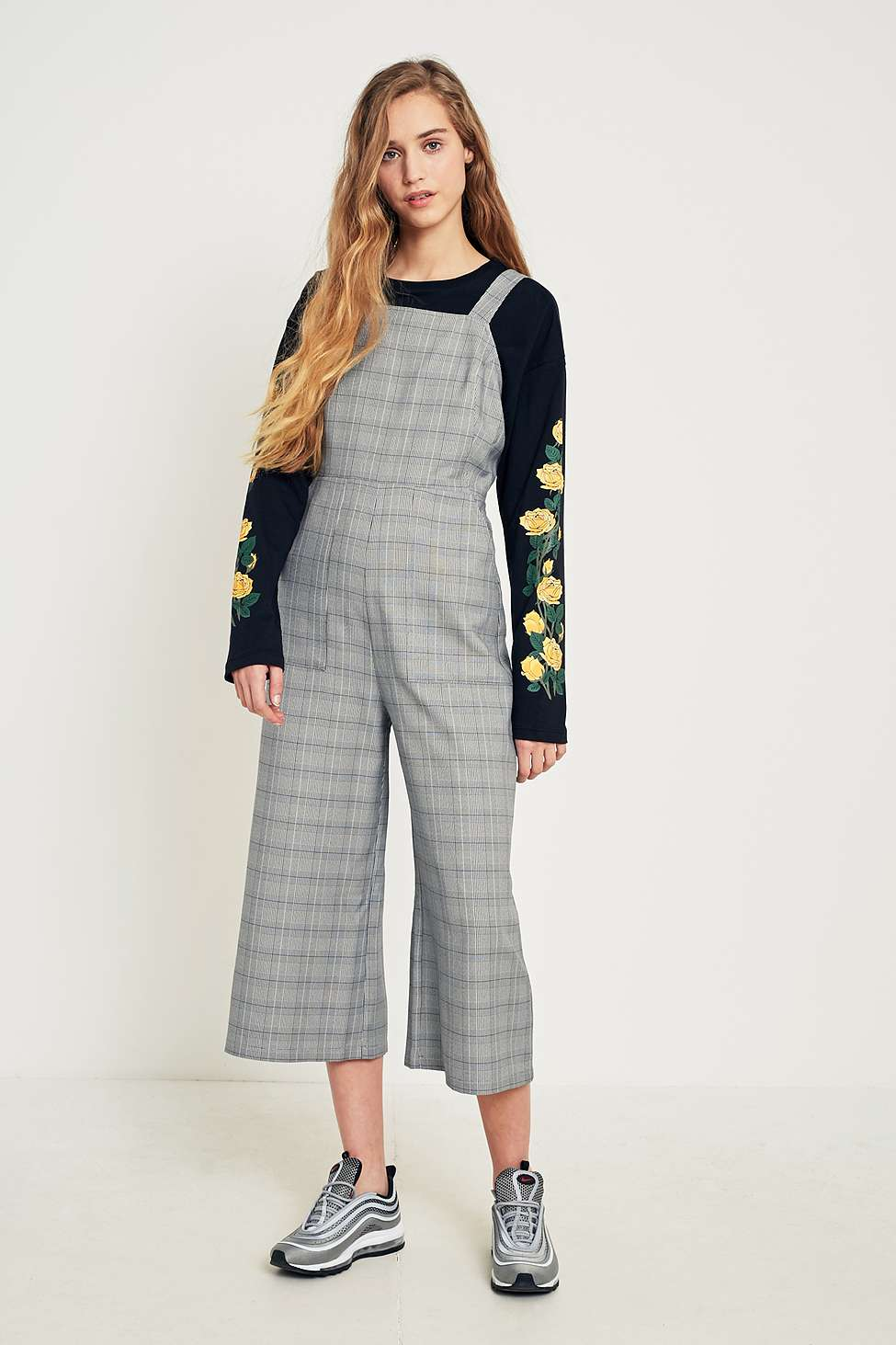 Urban Outfitters Checked Bib Culotte Jumpsuit, Grey