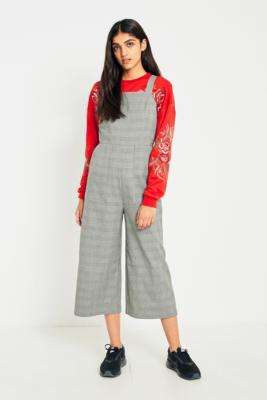 Cooperative by Urban Outfitters - Urban Outfitters Black and White Checked Bib Culotte Jumpsuit, Grey