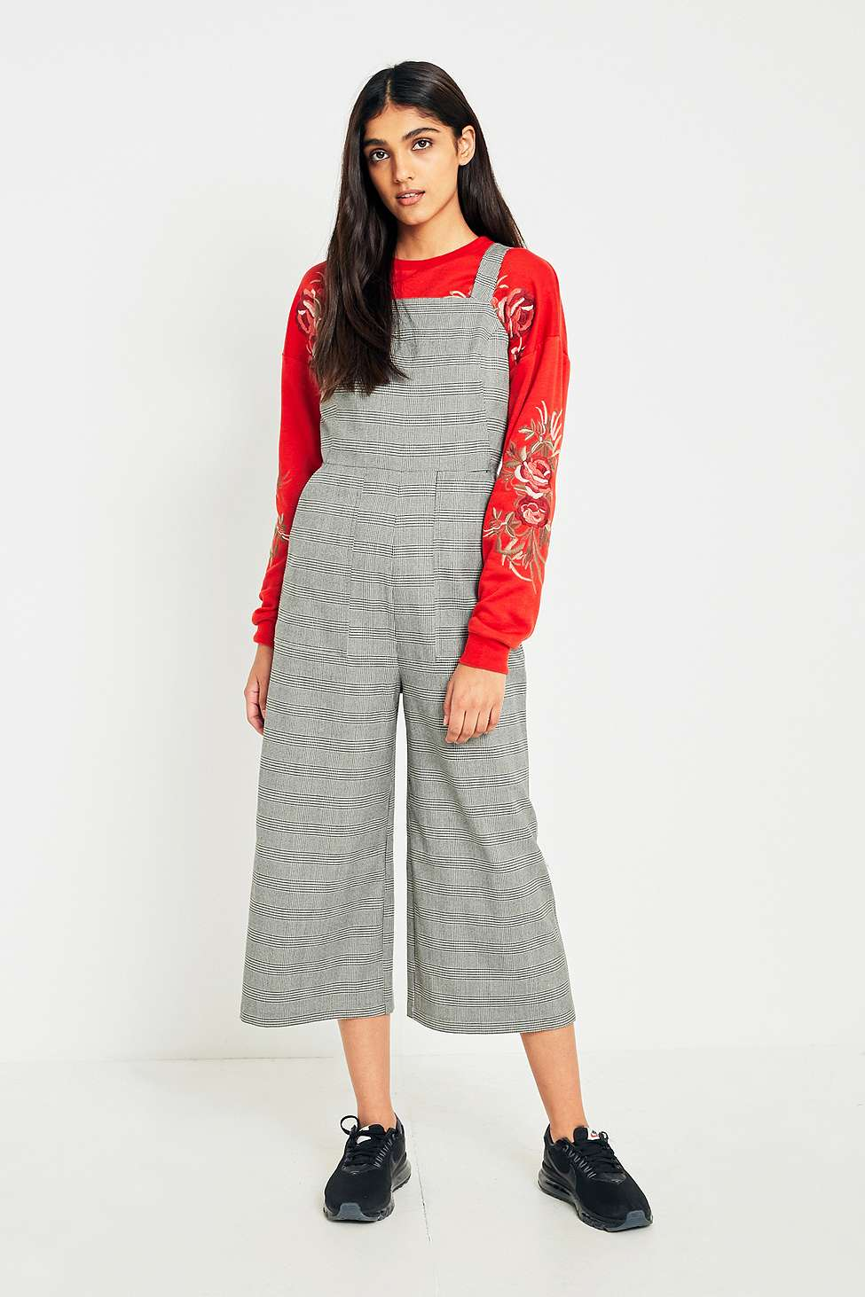 Urban Outfitters Black and White Checked Bib Culotte Jumpsuit, Grey