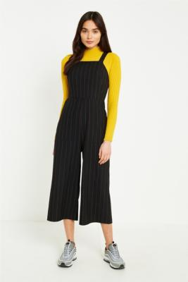 Urban Outfitters - UO Pinstripe Straight Neck Culotte Jumpsuit, Black Multi