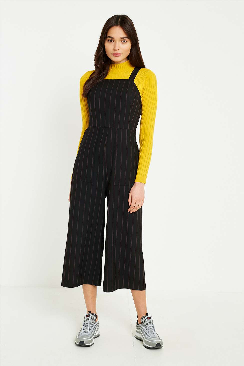 UO Pinstripe Straight Neck Culotte Jumpsuit, Black Multi
