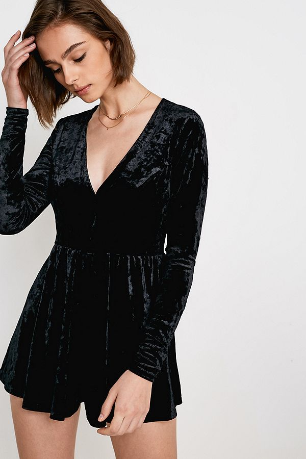 Slide View: 1: UO Black Velvet Gianni Fit + Flare Playsuit