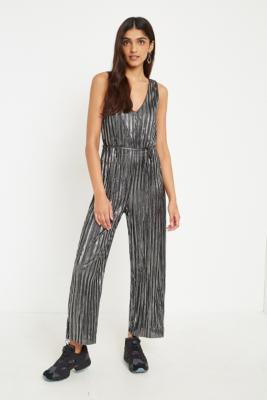Urban Outfitters - UO Silver Plisse Jumpsuit, Silver