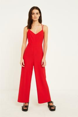Uo Red Strappy Back Wide Leg Jumpsuit by Urban Outfitters