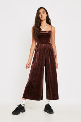 Uo Brown Velvet Straight Neck Jumpsuit by Urban Outfitters