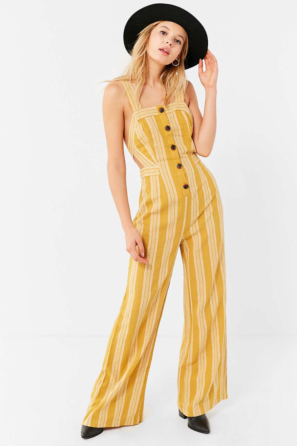 UO Ameliana Straight-Neck Button-Down Jumpsuit, Yellow