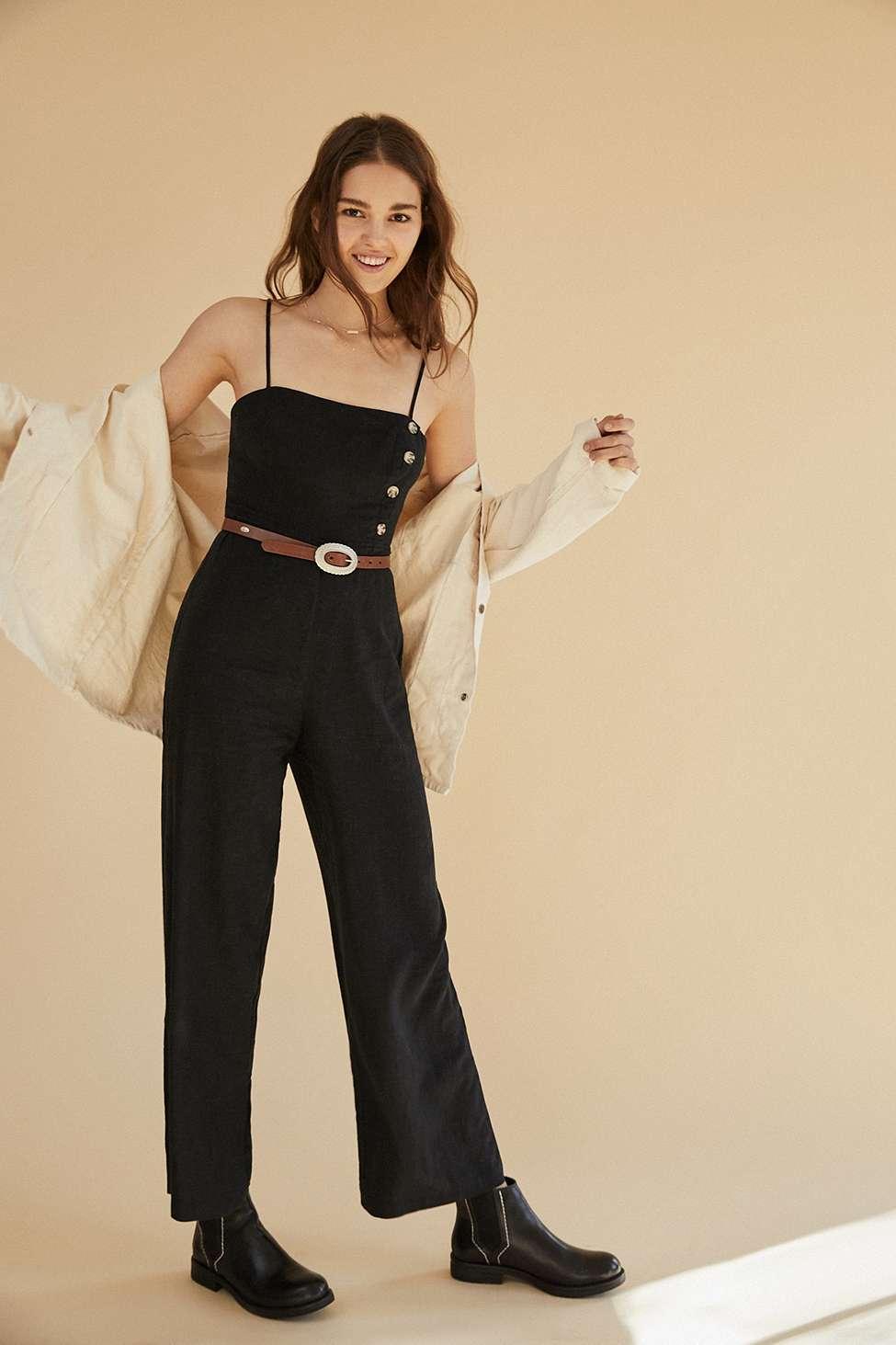 UO Black Straight-Neck Linen Button-Down Jumpsuit, Black
