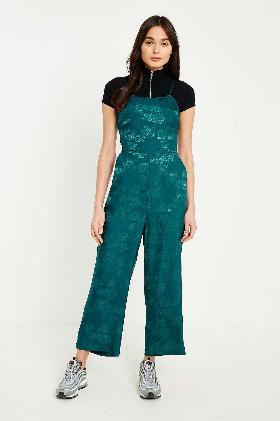 UO Lily Jacquard Lace-Up Jumpsuit, Green