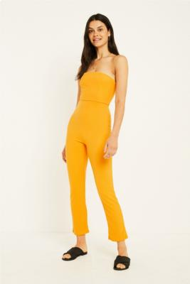 Uo Sena Gold Strapless Jumpsuit by Urban Outfitters