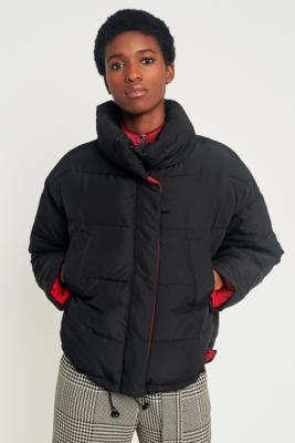 Light Before Dark - Light Before Dark Black with Contrasting Red Lining Pillow Puffer Jacket, Black