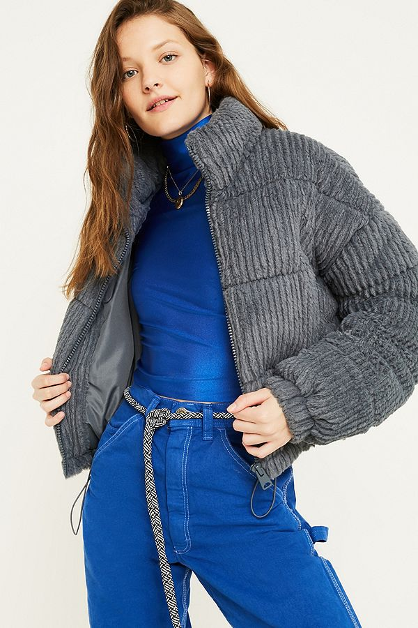 Slide View: 1: UO Charcoal Fluffy Corduroy Puffer Jacket