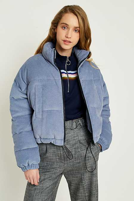 UO Blue Corduroy Cropped Puffer Jacket