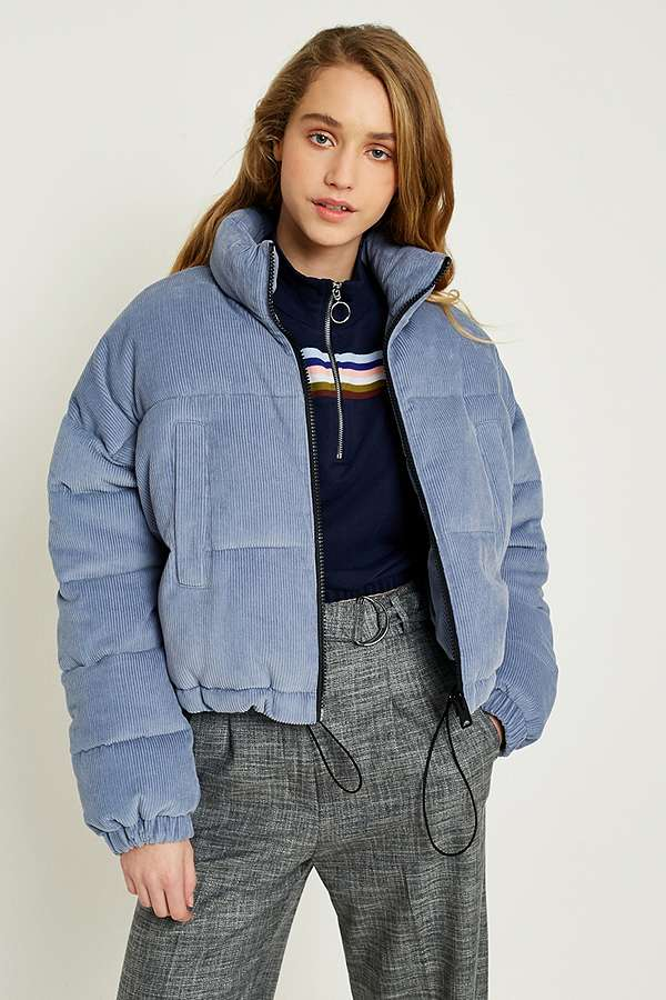UO Blue Corduroy Cropped Puffer Jacket | Urban Outfitters UK