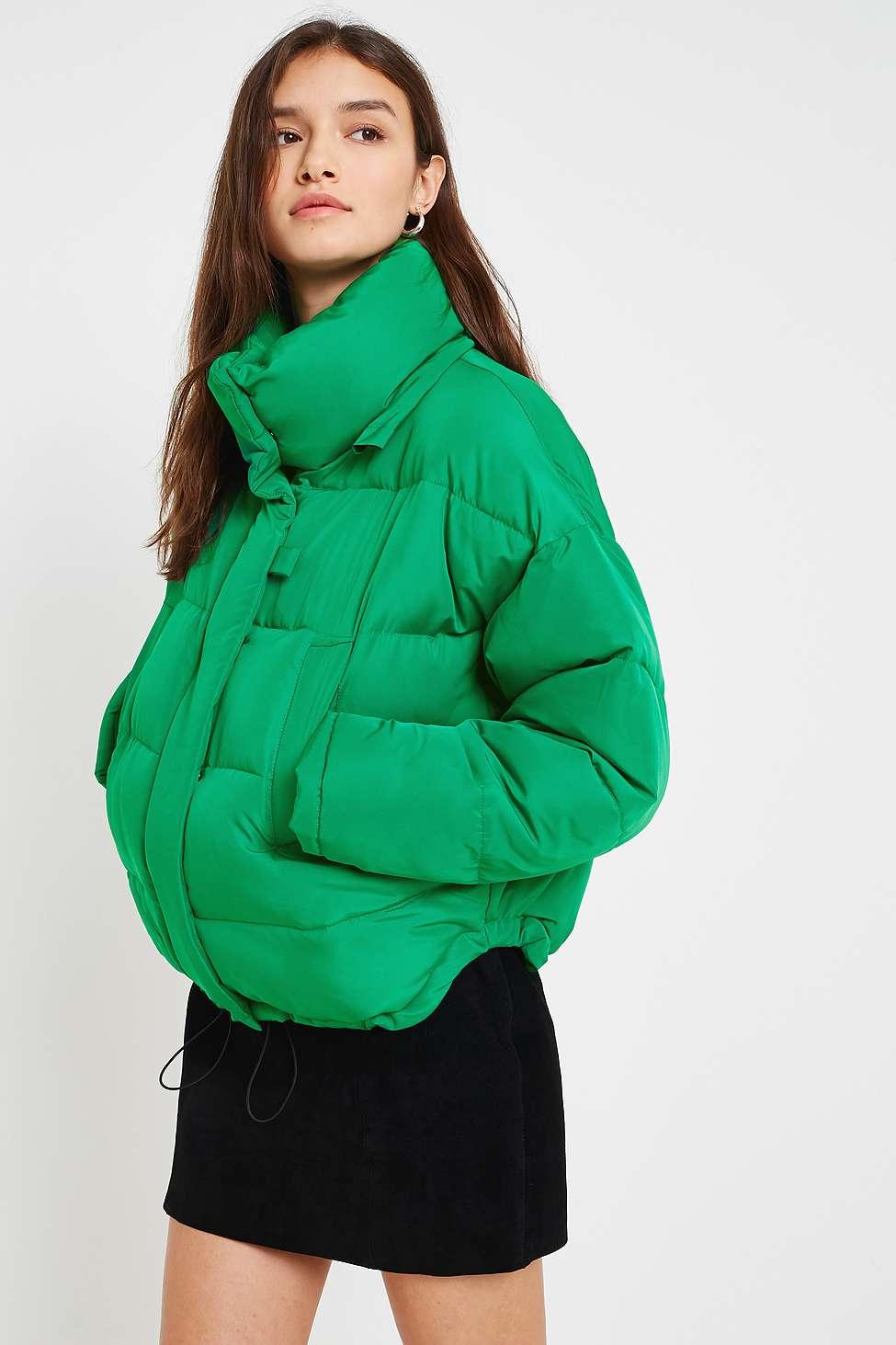 Light Before Dark Green Pillow Puffer Jacket, Green