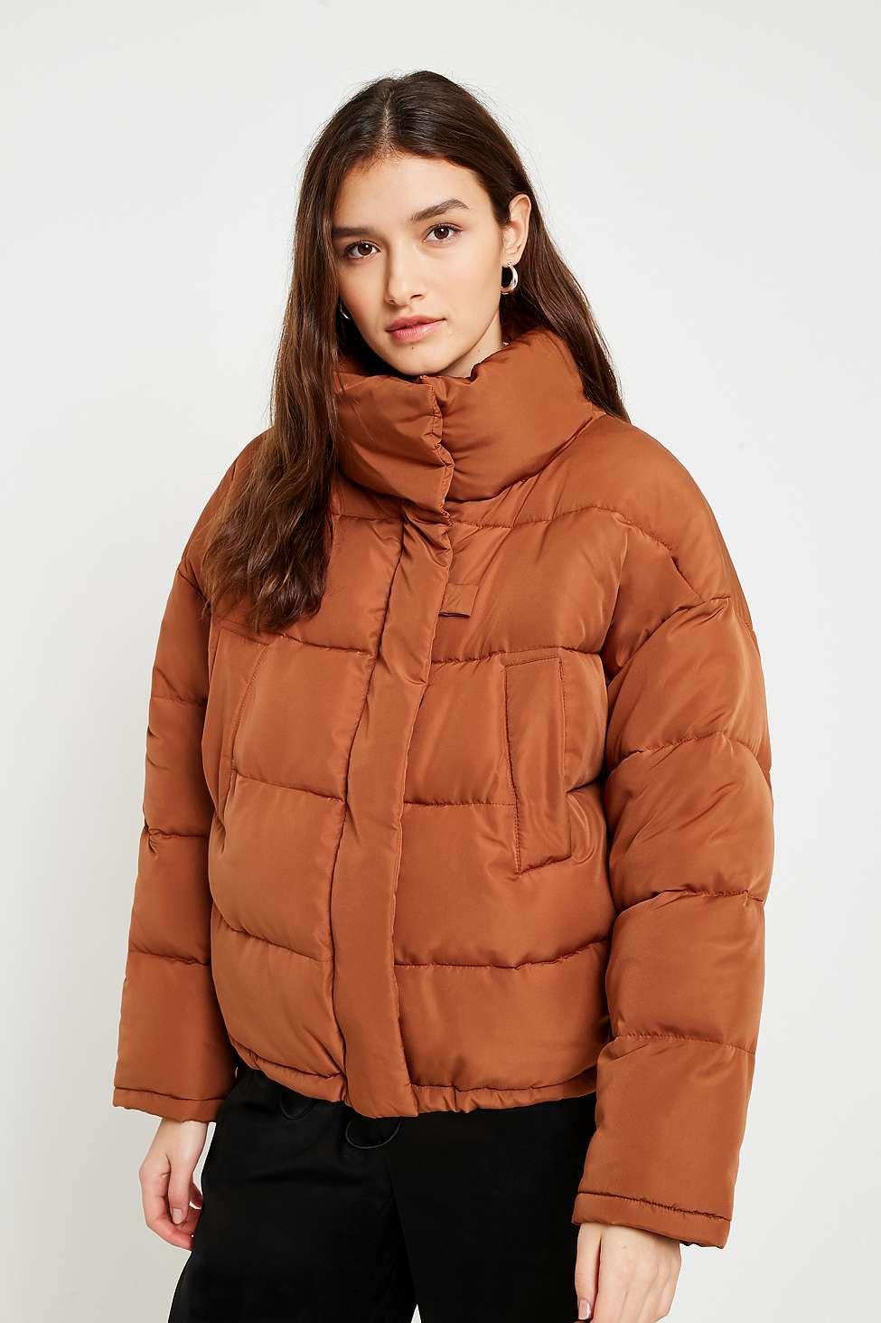 Light Before Dark Brown Pillow Puffer Jacket, Brown