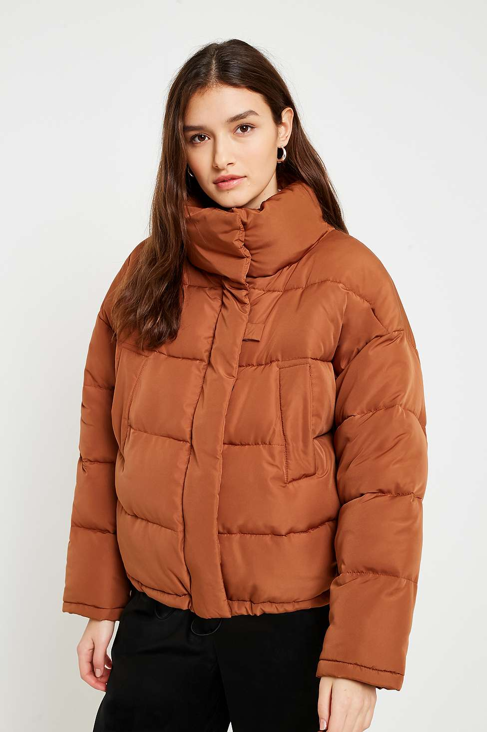 Slide View: 1: Light Before Dark Brown Pillow Puffer Jacket