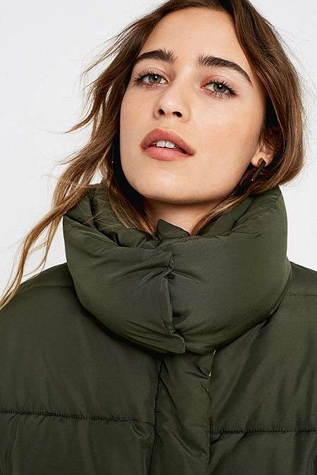 UO Khaki + Lime Contrast Lined Pillow Puffer Jacket 9a9dd44511