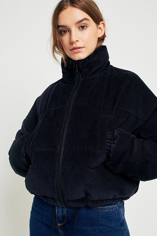 Light Before Dark Indigo Corduroy Cropped Puffer Jacket ...