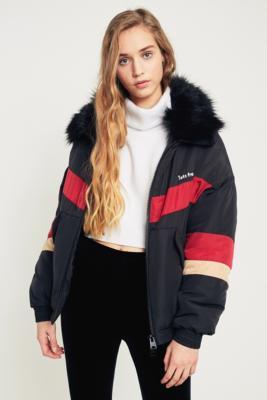 iets frans... - iets frans…  Black Chevron Faux Fur Collar Ski Jacket, Black