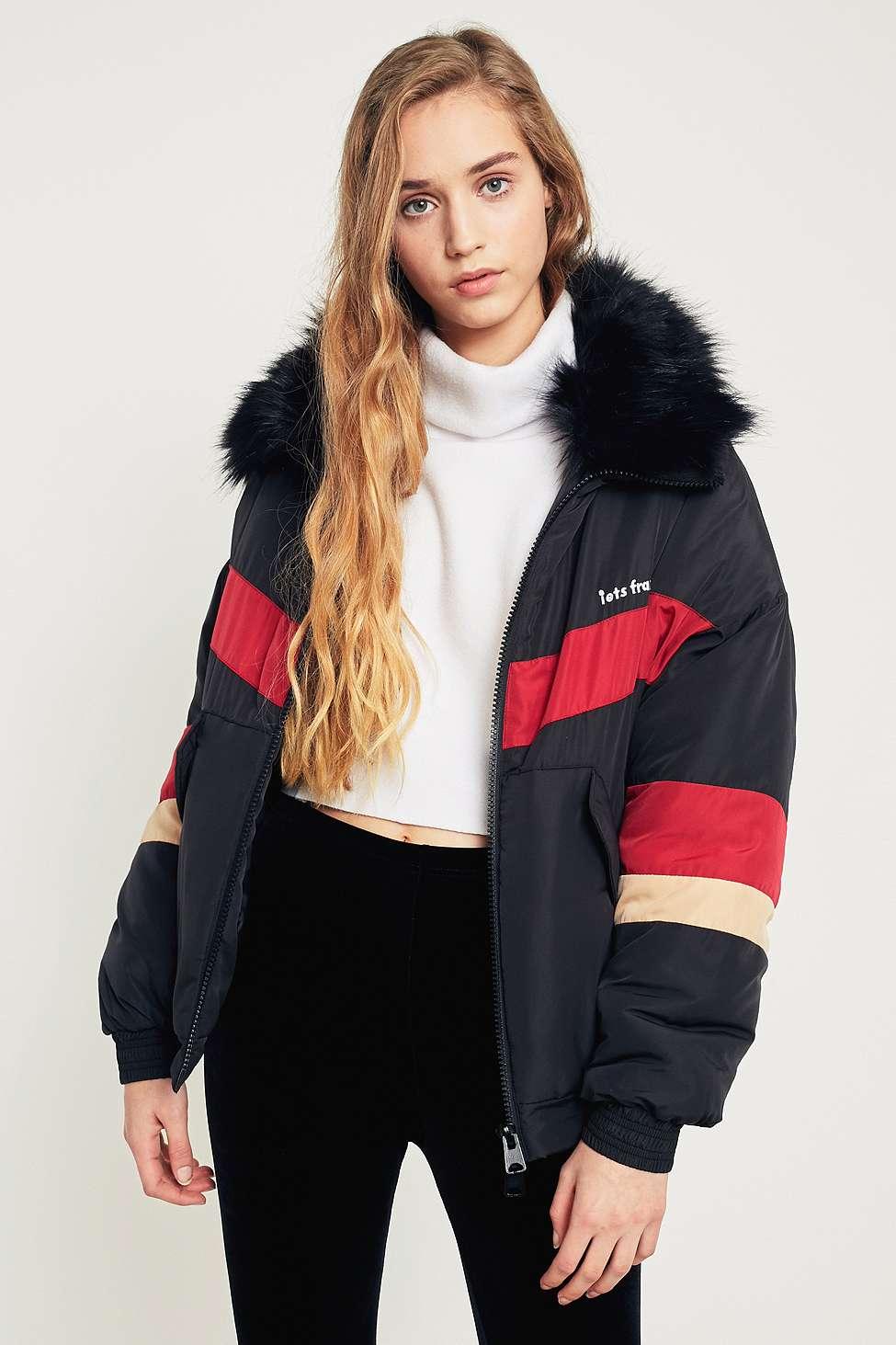 iets frans…  Black Chevron Faux Fur Collar Ski Jacket, Black