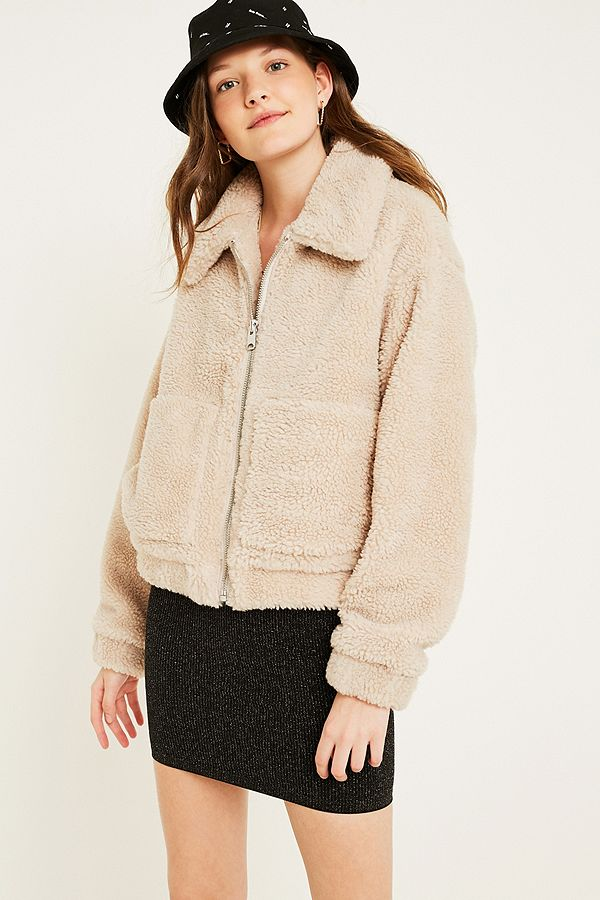 Slide View: 1: UO Cream Teddy Crop Jacket