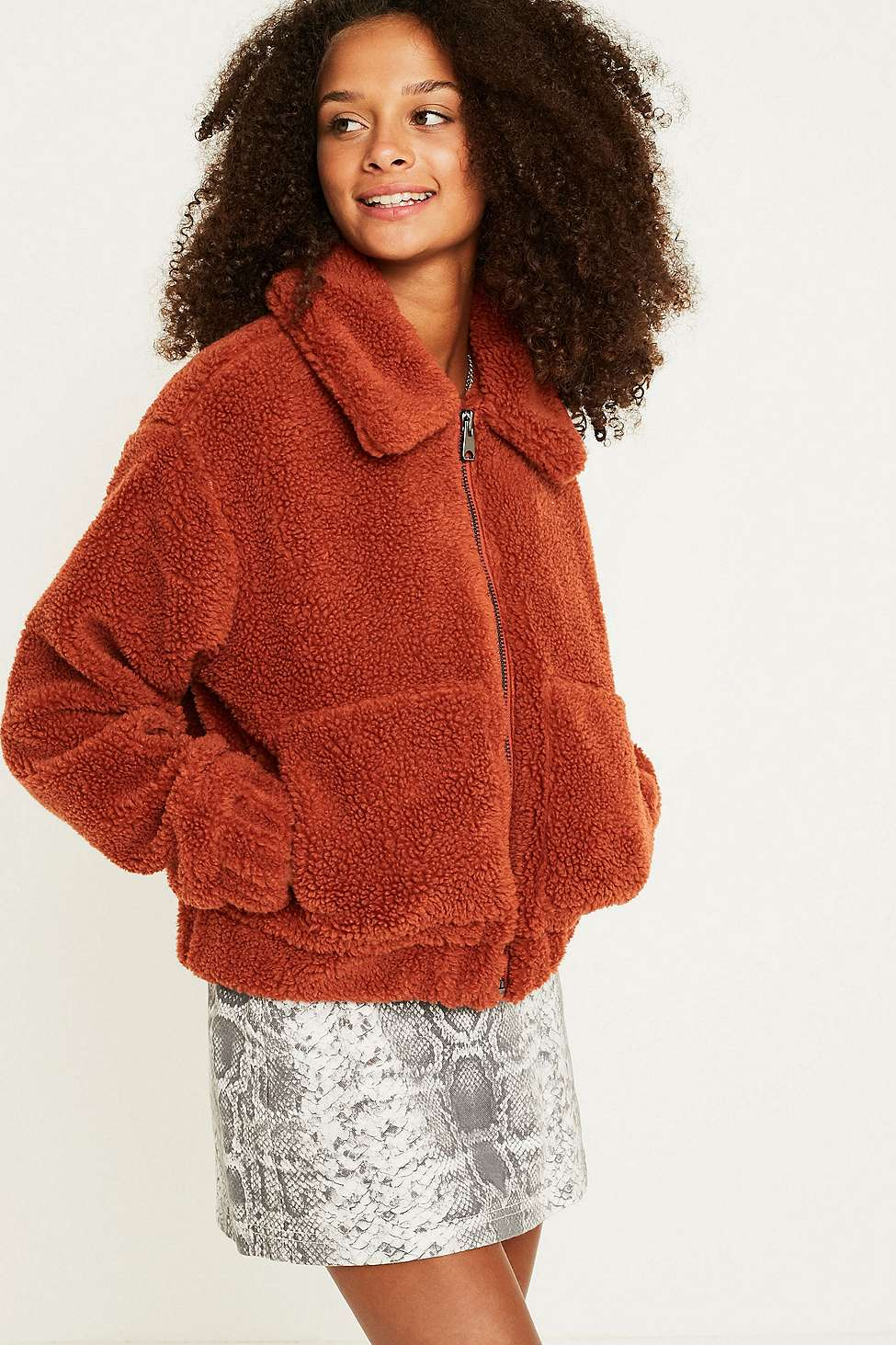 Urban Outfitters Uo Cropped Teddy Jacket Online Spel