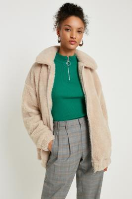 Light Before Dark - Light Before Dark Teddy Cream Zip-Through Jacket, Cream