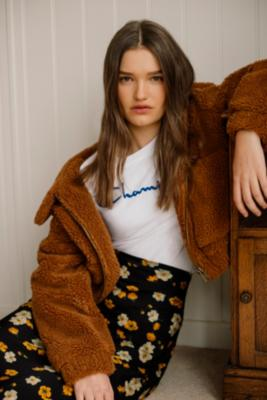 Urban Outfitters - UO Light Brown Teddy Cropped Jacket, Brown
