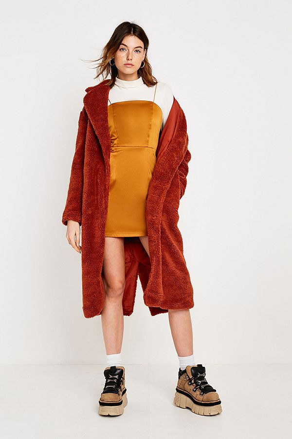 224290c1605c5 Uo Long Brick Teddy Coat by Urban Outfitters