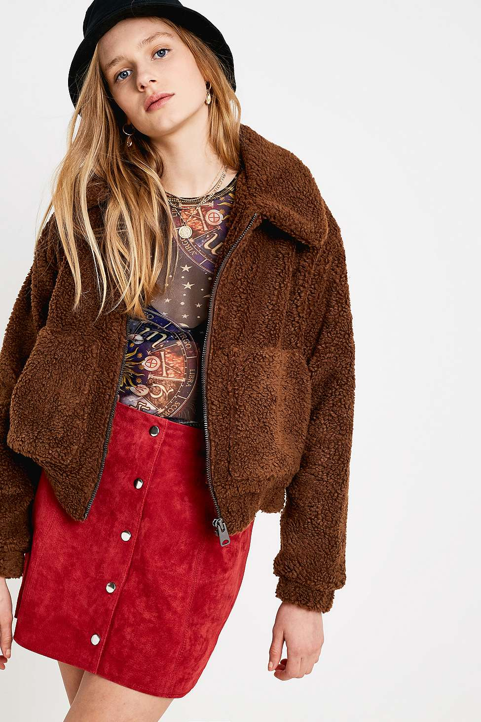 Uo Brown Cropped Teddy Jacket Urban Outfitters Uk