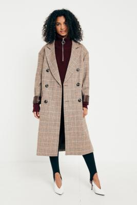 Urban Outfitters - UO Camel Checked Double Breasted Wool Coat, Taupe