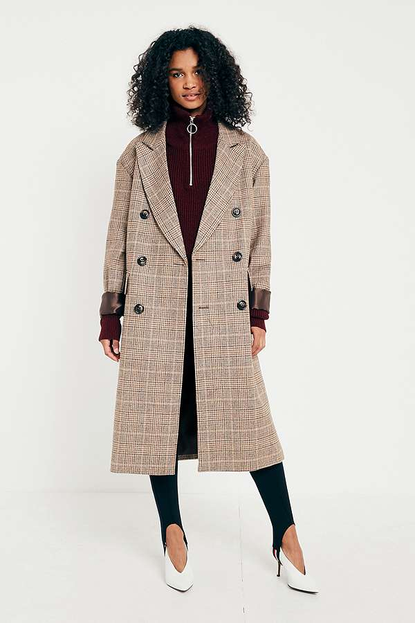 UO Camel Checked Double Breasted Wool Coat | Urban Outfitters