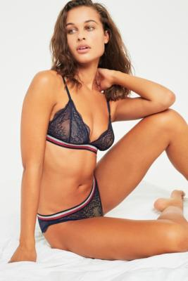 Tommy Hilfiger - Tommy Hilfiger Lace Striped Band Triangle Bra, Navy