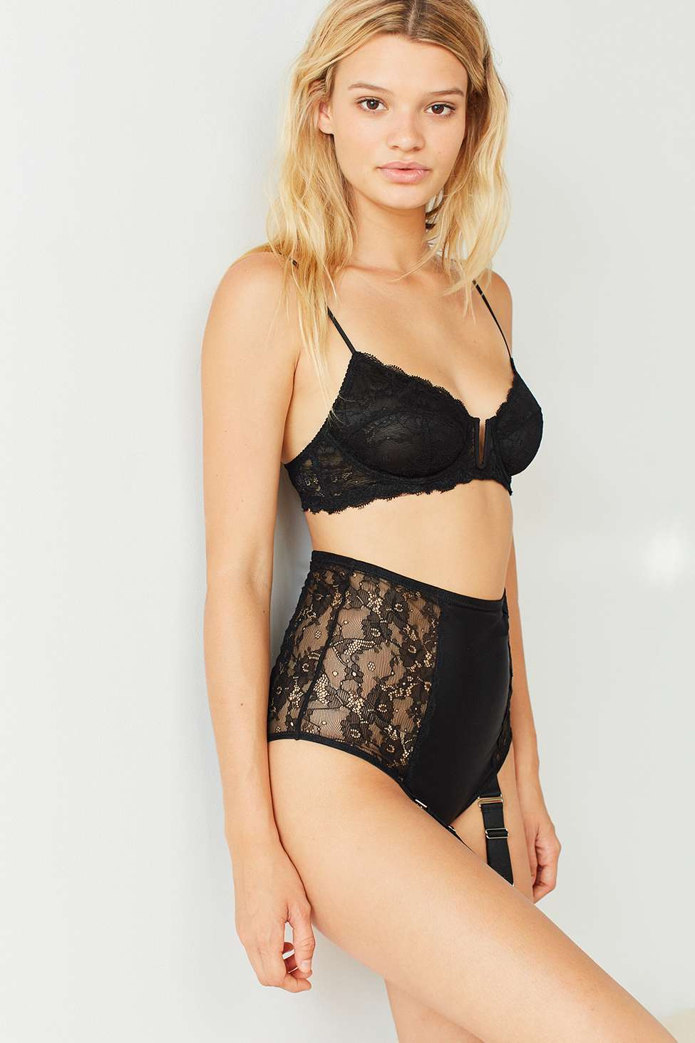 Out From Under Just For You Garter High-Waisted Knickers, black