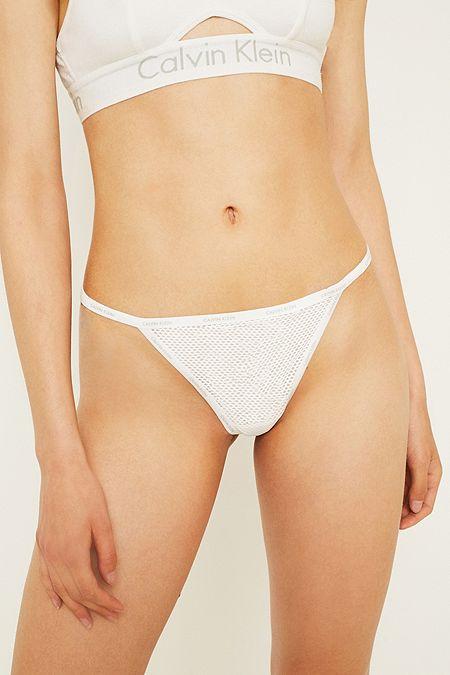 d72e43f787 Calvin Klein Sheer White Marquisette Thong