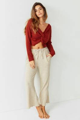 Out From Under - Out From Under Cosy Waffle Knit Culottes, Cream