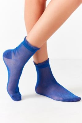 Urban Outfitters - Ruffle Glitter Crew Socks, Blue