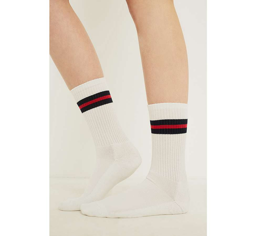 Slide View: 1: Navy Sport Stripe Socks