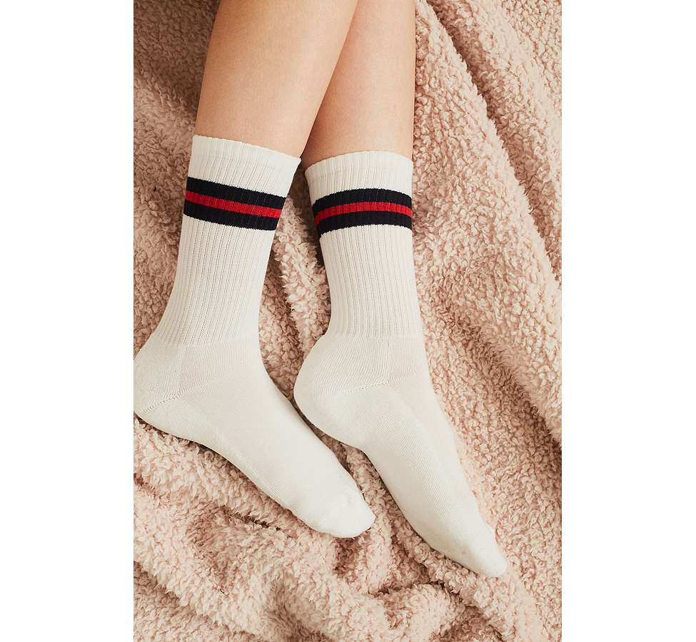 Slide View: 3: Navy Sport Stripe Socks
