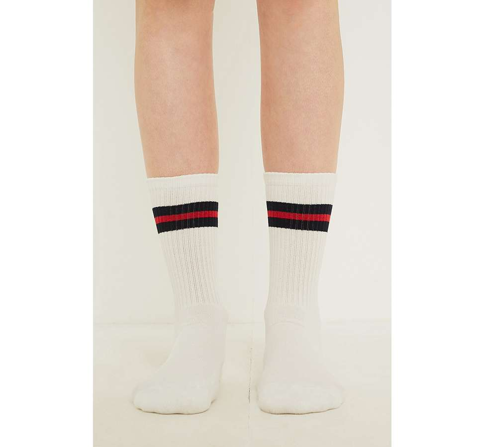 Slide View: 5: Navy Sport Stripe Socks