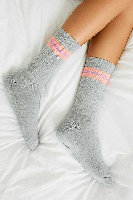 UO Grey Sport Stripe Socks