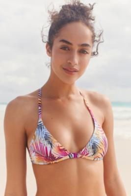 Out From Under - Out From Under Printed Triangle Racerback Bikini Top, Purple