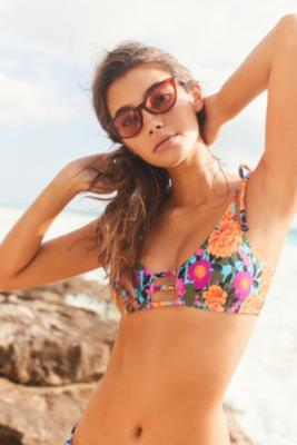 Out From Under - Out From Under Printed Strappy Bikini Top, Orange