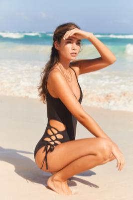 Out From Under - Out From Under Jules Split-Side Lace-Up One-Piece Swimsuit, Black
